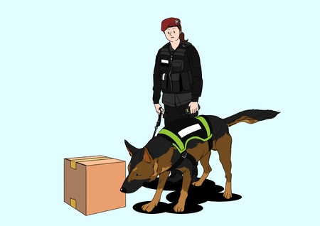 Illustration of dogs helping people - Police dogs Vettoriali