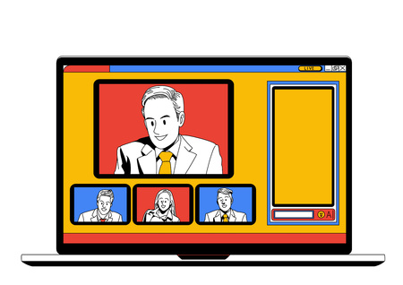 woman laptop: Business life illustration isolated in white - Tele-conference,smart device,conference-call