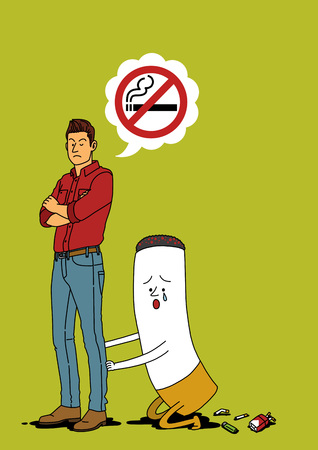 Illustration of people trying hard,doing best - Stop,quit smoking