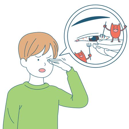 個人の健康と衛生のイラスト - 眼感染症  イラスト・ベクター素材