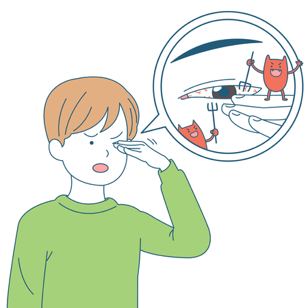 Personal health and hygiene illustration - Eye infection