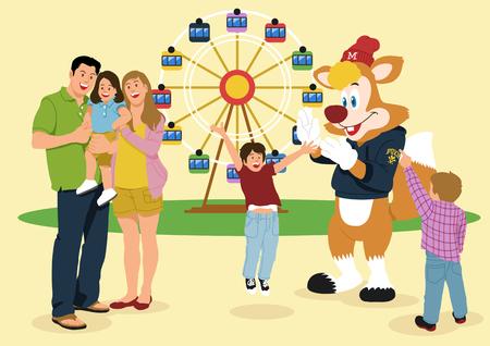 Illustration of people,spectators,audiences in line - Amusement park,them park Illustration