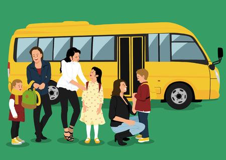 줄에 - 사람들이 학교 버스의 그림 스톡 콘텐츠 - 84907464
