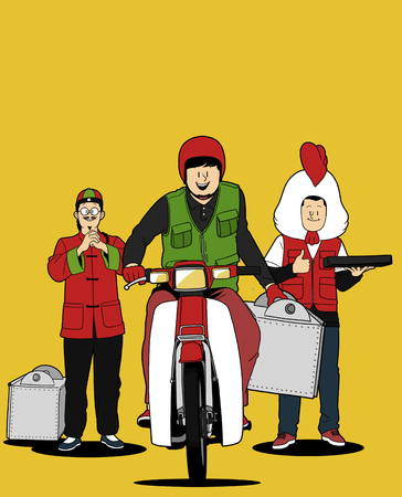 Various service business isolated in yellow illustration - Food delivery 일러스트