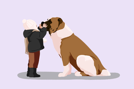 Cute illustration isolated - Baby,little kid and pet,dog,puppy 일러스트