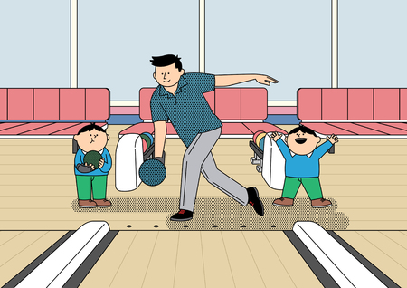 Family leisure, hobby illustration - Bowling