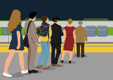 Illustration of people in line - Subway,trains,metro,public transportation 向量圖像