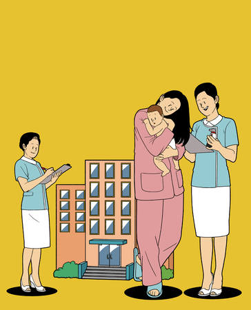 Various service business isolated in yellow illustration - Postnatal care center