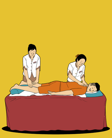 Various service business isolated in yellow illustration - Masseuse