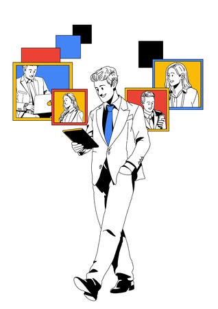 Business life illustration isolated in white - Tele-conference,smart device,conference-call