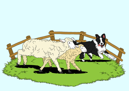 Illustration of dogs helping people - Sheepdog