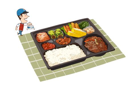 Food delivery illustration isolated in white - Lunchbox,meal box