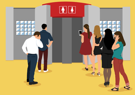 Illustration of people in line - Restroom,bathroom,washroom,toilet