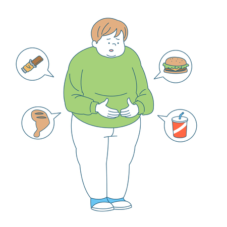 Personal health and hygiene illustration - Overeat,diet,obesity Illustration