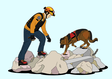 Illustration of dogs helping people - rescue,save people lives