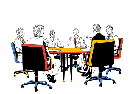 woman laptop: Business life illustration isolated in white - Meeting,conference Illustration