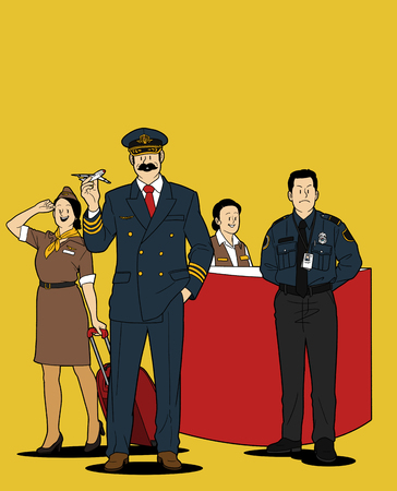 Various service business isolated in yellow illustration - Airlines