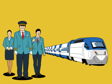 Various service business isolated in yellow illustration - Train operators