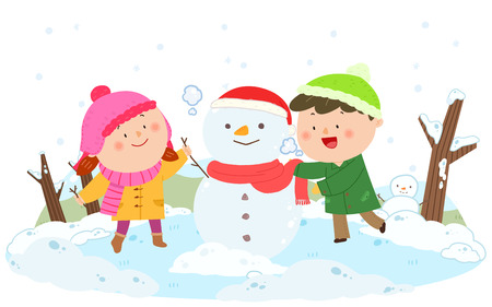 Winter vacation illustration - Make snowman Ilustração