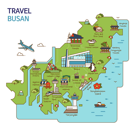 City tour,travel map illustration - Busan,Pusan City, South Korea