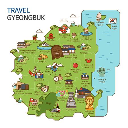City tour,travel map illustration - Gyeongbuk Province, South Korea