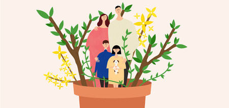 Eco-friendly illustration - Family in the plant pot 向量圖像