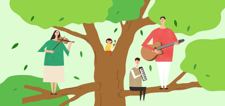 Eco-friendly illustration - Family playing musical instruments on a big tree