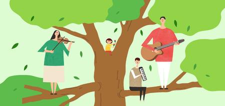 Eco-vriendelijke illustratie - Familie die muziekinstrumenten speelt op een grote boom Stock Illustratie