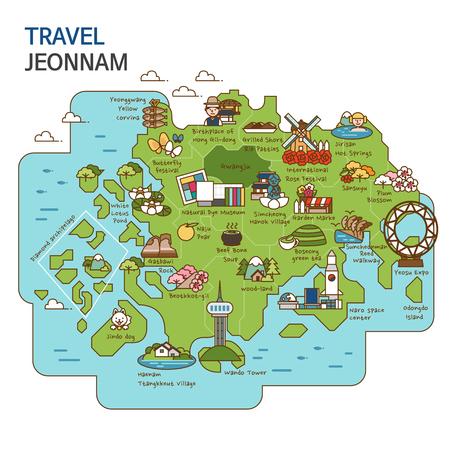 시티 투어, 여행지도 일러스트 - 전남, 한국
