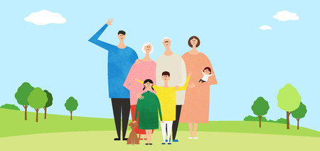 Eco-friendly illustration - Three generations of family waving hands together
