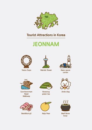 Tourist attractions icon illustration - Jeonnam Province, South Korea