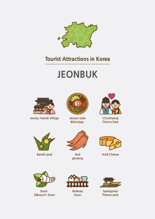 Tourist attractions icon illustration - Jeonbuk Province, South Korea