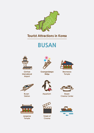 Tourist attractions icon illustration - Busan,Pusan City, South Korea