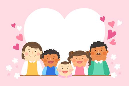 Interracial,intercultural family illustration - heart shape frame with family Illustration