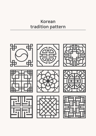 Illustration of pattern sample - uncolored various shape of Korean traditional pattern