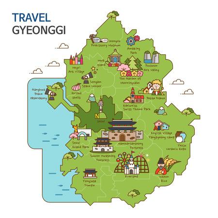 Stadstour, reiskaartillustratie - Gyeonggi-Provincie, Zuid-Korea Vector Illustratie
