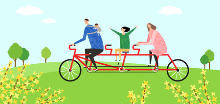 forsythia: Eco-friendly illustration - Family riding multi-bicycle in green field