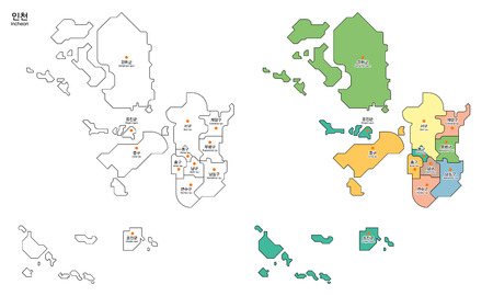 Map of district - Incheon City, South Korea