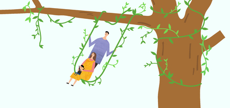 Eco-friendly illustration - Family riding in a ivy stem swing hanging on a tree Ilustracja