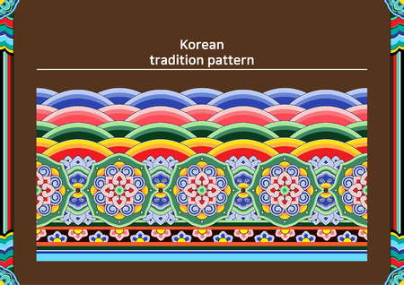 Illustration of pattern sample - colored Korean traditional pattern raw Фото со стока - 84866355