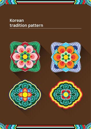 패턴 샘플 - 색깔의 꽃 그림 한국어 전통적인 패턴 스톡 콘텐츠 - 84866358