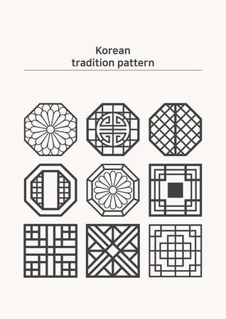 Illustratie van patroonsteekproef - ongekleurde diverse vorm van Koreaans traditioneel patroon