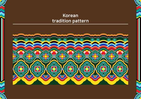 Illustratie van patroonsteekproef - gekleurd Koreaans traditioneel rauw patroon