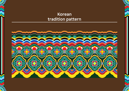 Illustration of pattern sample - colored Korean traditional pattern raw
