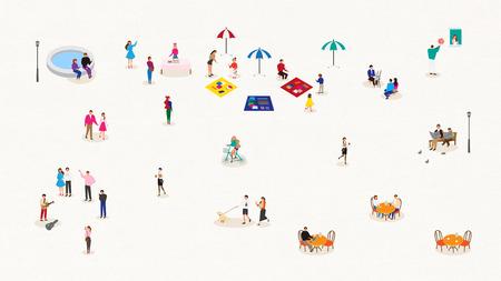 Minimale, eenvoudige illustratie - Mensen genieten op het binnenstadspark op verschillende manieren