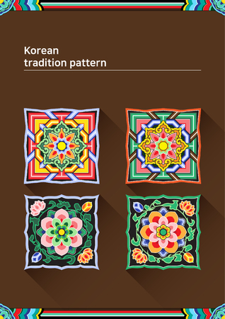 Illustration of pattern sample - colored square Korean traditional pattern