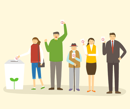 Election illustration - Different age groups of people putting voting paper into ballot box