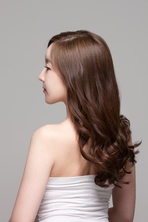아름 다운 아시아 여자, 뷰티 스킨 케어  메이크업 개념의 총을 닫습니다 스톡 콘텐츠