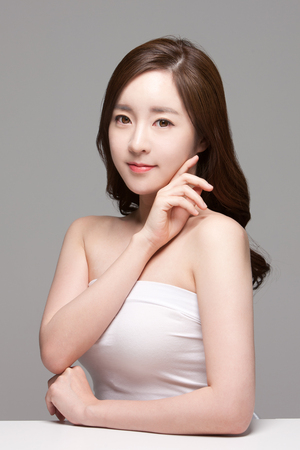 Close up shot of beautiful Asian woman, beauty skin care/ make up concept