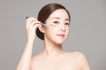 Close up shot of beautiful Asian woman, beauty skin care make up concept Stock Photo